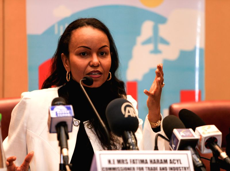 Fatima Haram Acyl, the AU Commissioner for Trade and Industry, attends a press briefing during the 23rd AU Summit in Malabo, capital of Equatorial Guinea, June 23, ..