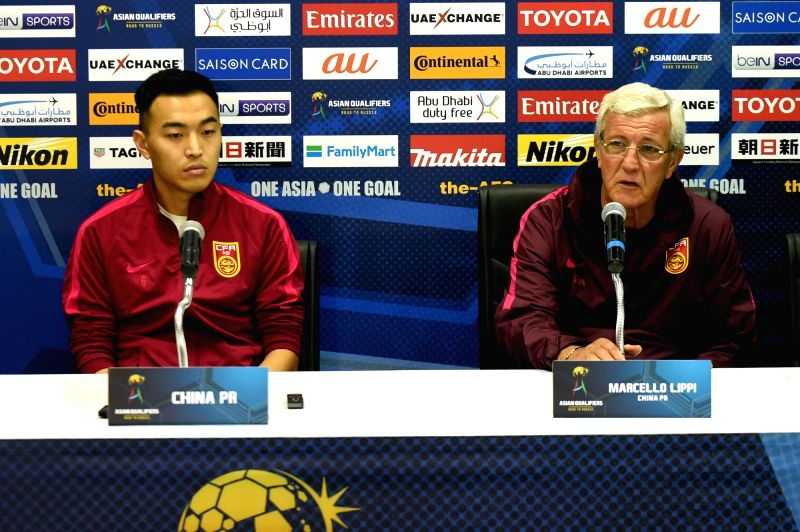 MALACCA, June 12, 2017 - China's head coach Marcello Lippi (R) attends the press conference before the 2018 FIFA World Cup Russia qualification match between China and Syria in Malacca, Malaysia, ...
