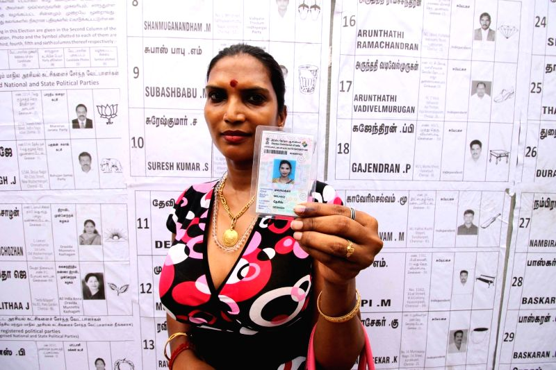 Malaika Desingh, a transgender after casting vote during Tamil Nadu Assembly polls  in Chennai May 16, 2016.