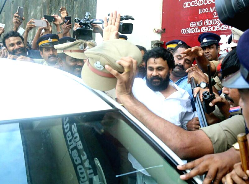 Malayali actor Dileep, arrested for alleged involvement in the kidnapping of an actress, comes out of Aluva sub-jail after being granted bail by the Kerala High Court on Oct 3, 2017. The actor ... - Dileep