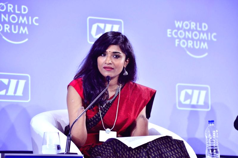 Malvika Iyer as a co-chair at the World Economic Forum's India Economic Summit 2017 in Delhi.