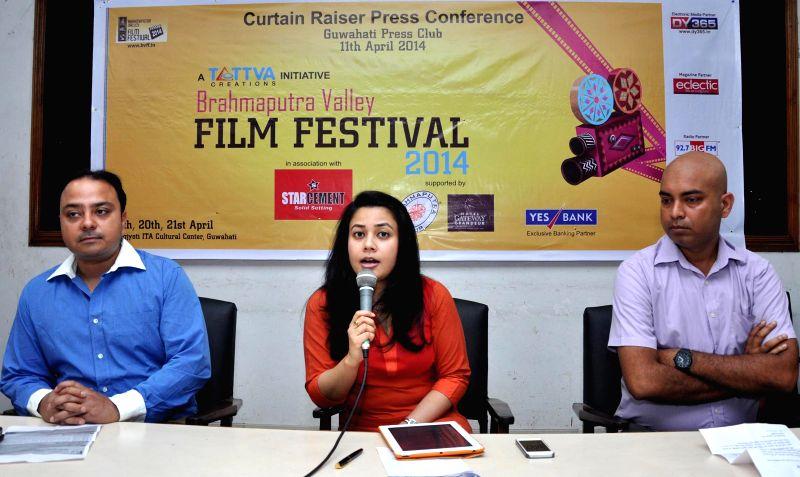Managing Director of Eclectic Magazine, Tanushree Hazarika addresses a press conference regarding Brahmaputra Valley Film Festival in Guwahati on April 11, 2014.