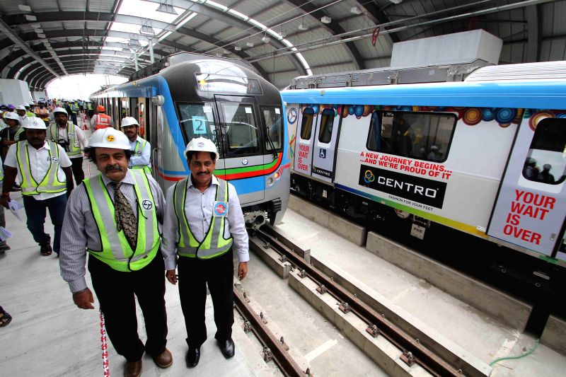 Managing Director of Hyderabad Metro Rail Limited NVS Reddy inspects Nagole metro station in Hyderabad on Sept 2, 2014.