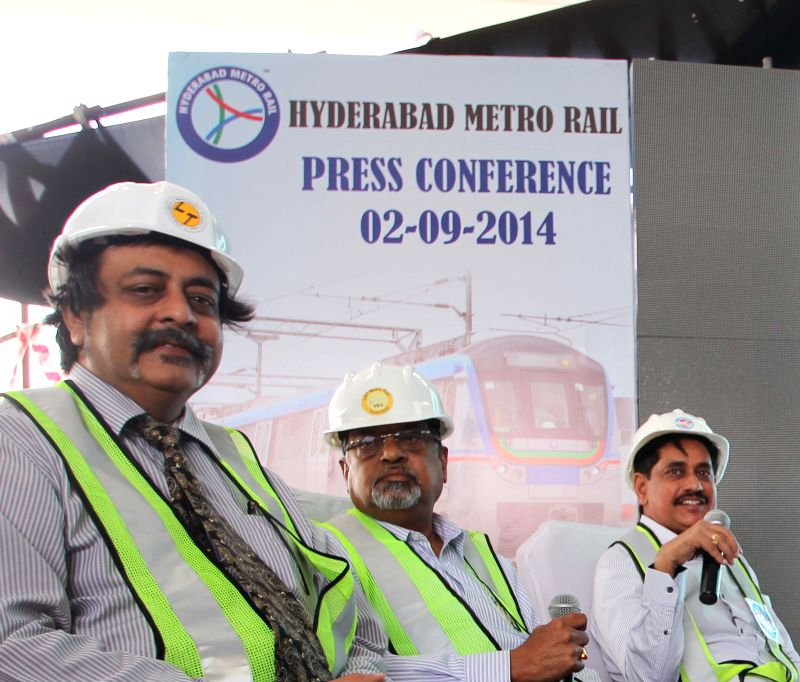 Managing Director of Hyderabad Metro Rail Limited NVS Reddy during a press conference at Nagole metro station in Hyderabad on Sept 2, 2014.