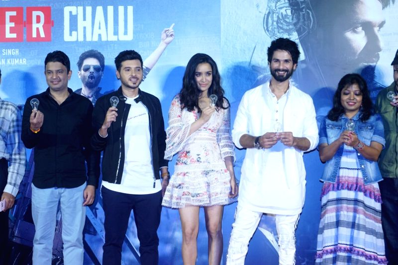 "Managing Director of T-Series Bhushan Kumar , actors Shahid Kapoor, Shraddha Kapoor and Divyendu Sharma at the trailer launch of their upcoming film ""Batti Gul Meter Chalu"" in ... - Shahid Kapoor, Shraddha Kapoor, Divyendu Sharma and T-Series Bhushan Kumar"