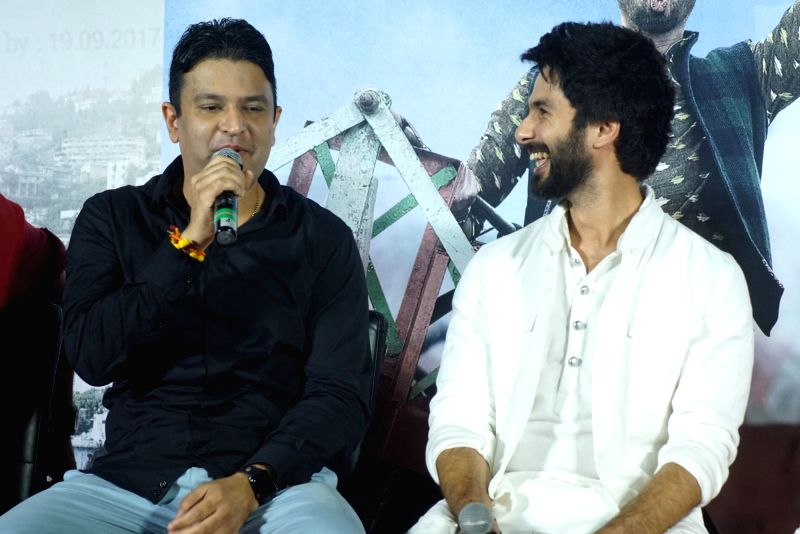 "Managing Director of T-Series Bhushan Kumar and actor Shahid Kapoor at the trailer launch of their upcoming film ""Batti Gul Meter Chalu"" in Mumbai on Aug 10, 2018. - Shahid Kapoor and T-Series Bhushan Kumar"