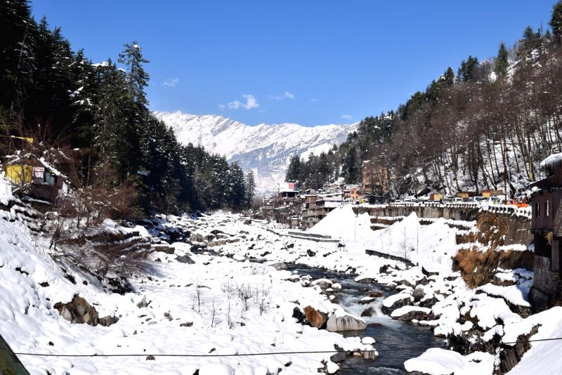 Manali: A view of Manali after snowfall on Jan 12, 2017.