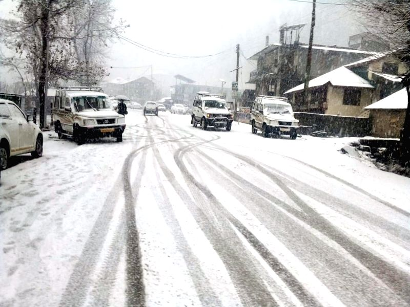 Manali receives fresh snowfall, on Feb 7, 2019.