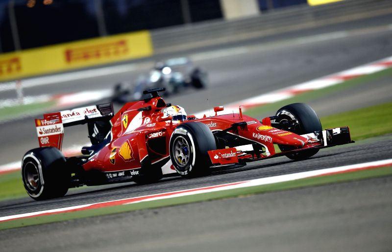 Ferrari driver Sebastian Vettel of Germany drives during the second free practice ahead of Bahrain's F1 Grand Prix at Bahrain International Circuit, south of ...