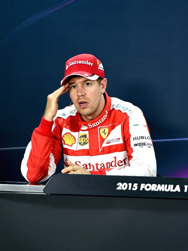 Ferrari Formula One driver Sebastian Vettel of Germany attends a press conference after the qualification session ahead of Bahrain's F1 Grand Prix at Bahrain ...