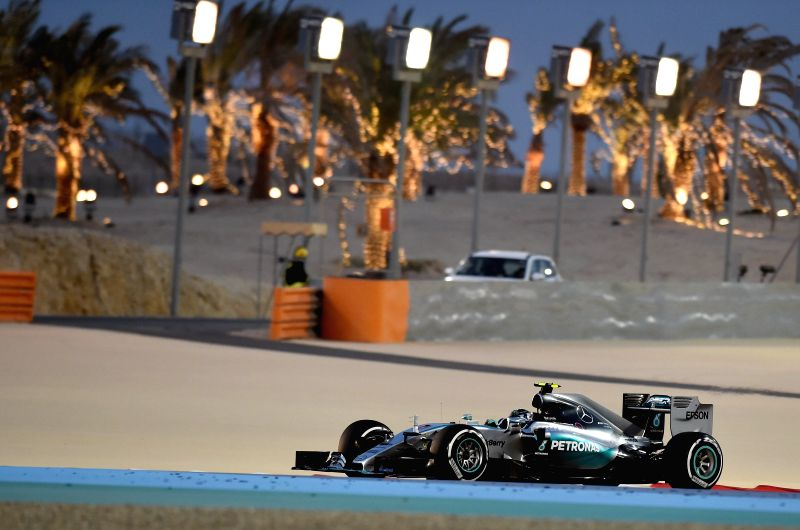 Mercedes Formula One driver Nico Rosberg of Germany drives during the qualification session ahead of Bahrain's F1 Grand Prix at Bahrain International Circuit, south ...