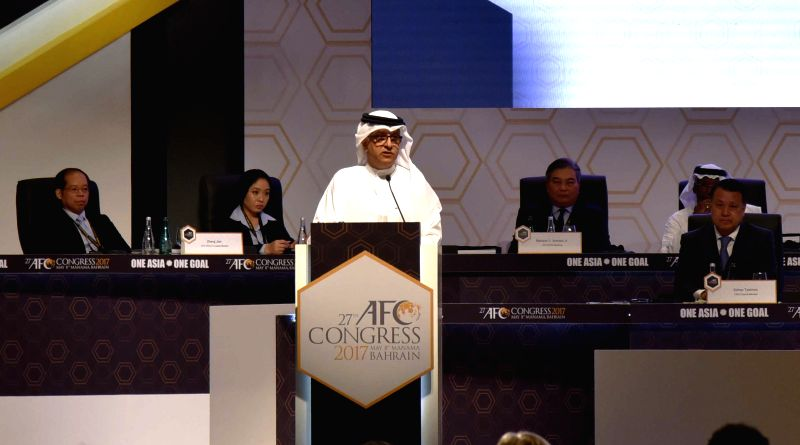 MANAMA, May 8, 2017 - Shaikh Salman bin Ebrahim Al Khalifa (front), President of the Asian Football Confederation (AFC), gives a speech during the 27th AFC Congress in in Manama, Bahrain, May 8, ...