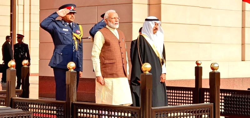 Manama: Prime Minister Narendra Modi with Bahrain Prime Minister Khalifa bin Salman Al Khalifa, during a ceremonial welcome accorded to him at Al Gudaibiya Palace in Manama, Bahrain on Aug 24, 2019. (Photo: IANS/MEA)