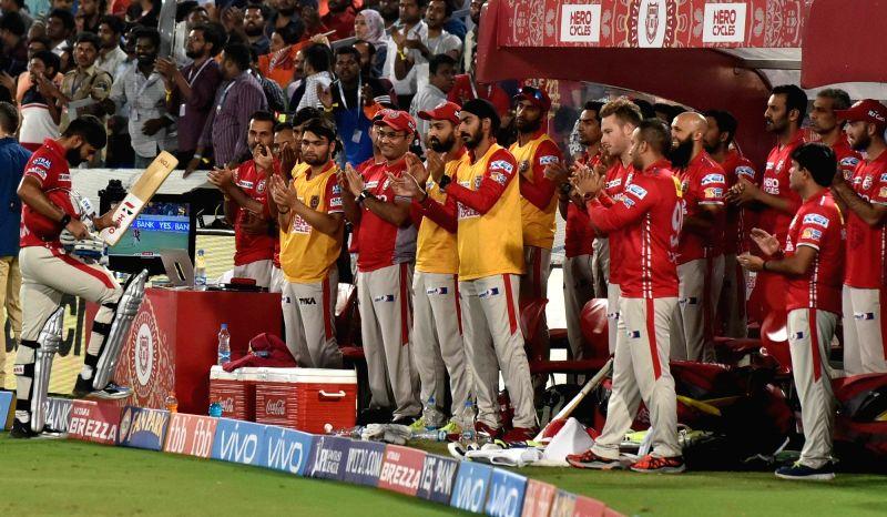 Manan Vohra of Kings XI Punjab during an IPL 2017 match between Sunrisers Hyderabad and Kings XI Punjab at Rajiv Gandhi International Stadium in Hyderabad on April 17, 2017.