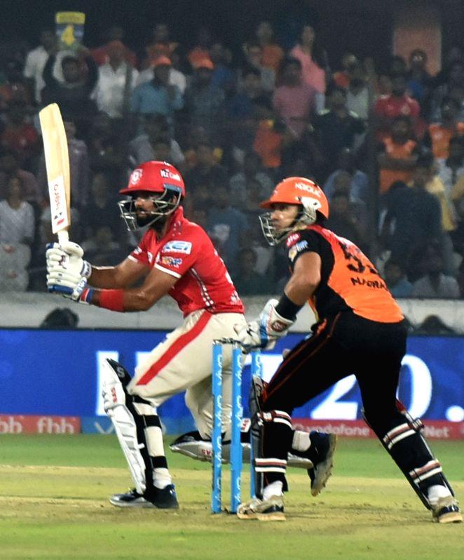Manan Vohra of Kings XI Punjab in action during an IPL 2017 match between Sunrisers Hyderabad and Kings XI Punjab at Rajiv Gandhi International Stadium in Hyderabad on April 17, 2017.