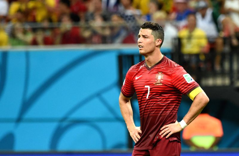 Portugal's Cristiano Ronaldo reacts during a Group G match between U.S. and Portugal of 2014 FIFA World Cup at the Arena Amazonia Stadium in Manaus, Brazil, June 22,
