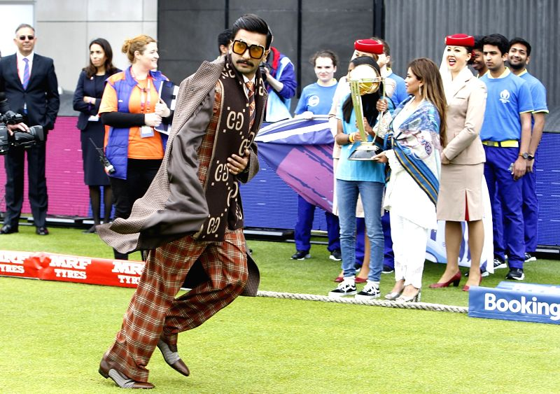 Manchester: Actor Ranveer Singh ahead of the 22nd match of 2019 World Cup between India and Pakistan at Old Trafford in Manchester, England on June 16, 2019. (Photo: Surjeet Yadav/IANS)