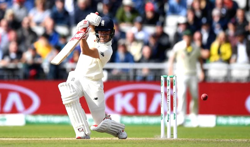 Manchester: England's Rory Burns in action on Day 3 of the 4th Test match between Australia and England at Old Trafford, in Manchester on Sep 6, 2019. (Photo: Twitter/@ICC)