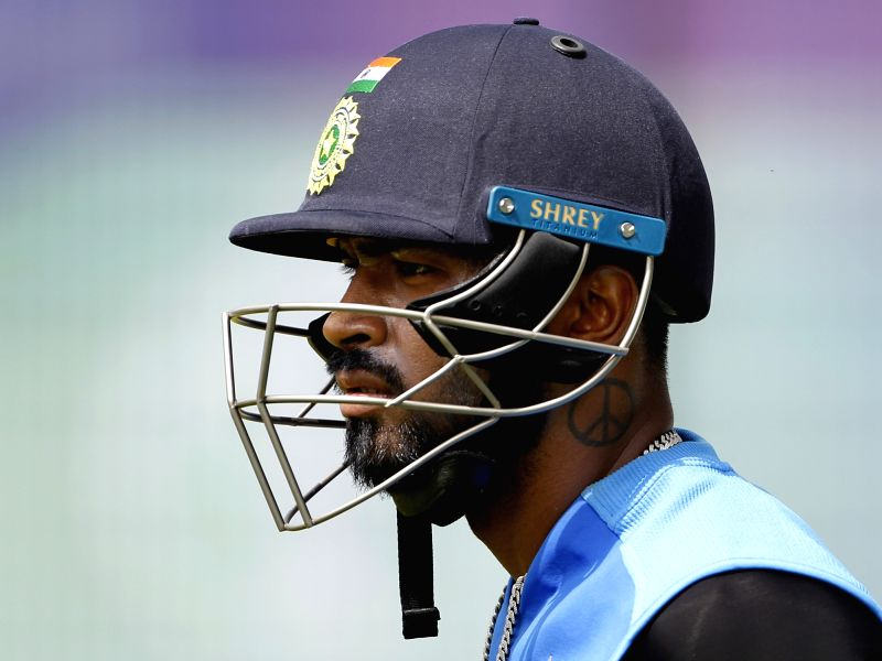 Manchester: India's Hardik Pandya during a practice session on the eve of their World Cup 2019 match against West Indies at Old Trafford in Manchester, England on June 26, 2019. (Photo: Surjeet Yadav/IANS)
