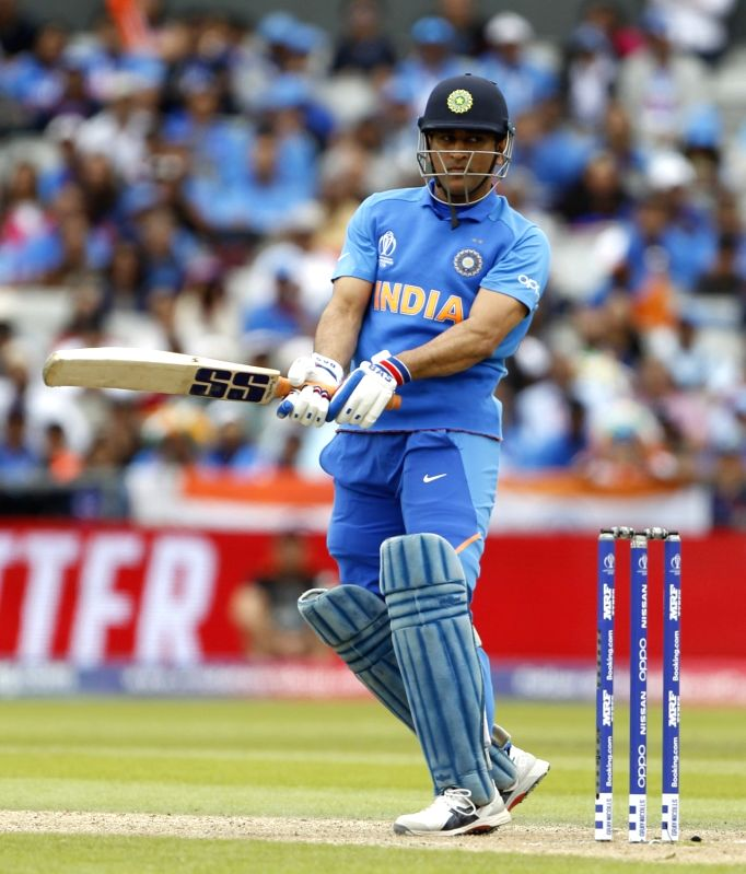 Manchester: India's MS Dhoni in action during the 1st Semi-final match of 2019 World Cup between India and New Zealand at Old Trafford in Manchester, England on July 10, 2019. (Photo: Surjeet Kumar/IANS)
