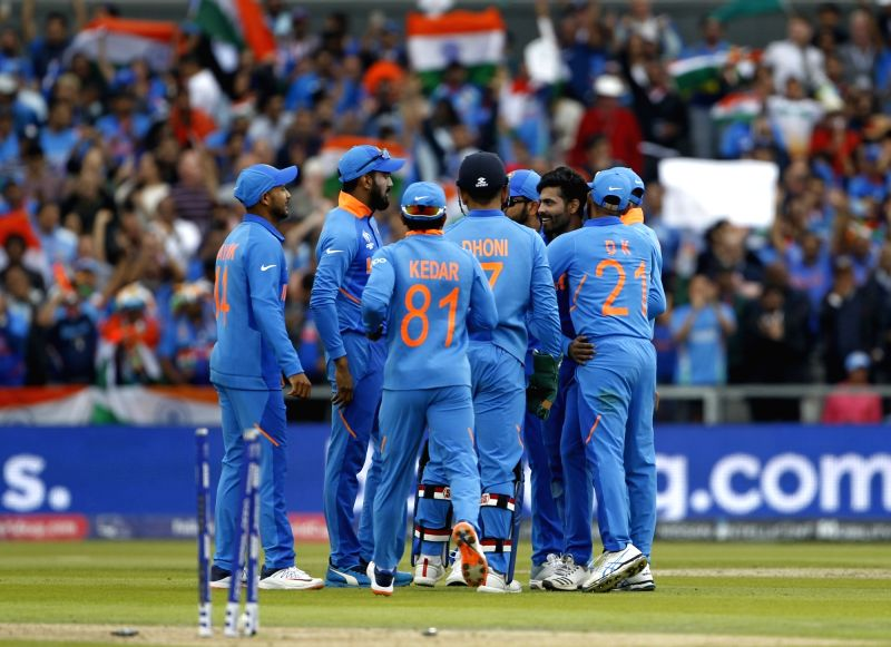 Manchester: India's Ravindra Jadeja celebrates fall of Henry Nicholls' wicket during the 1st Semi-final match of 2019 World Cup between India and New Zealand at Old Trafford in Manchester, England on July 9, 2019. (Photo: Surjeet Kumar/IANS)