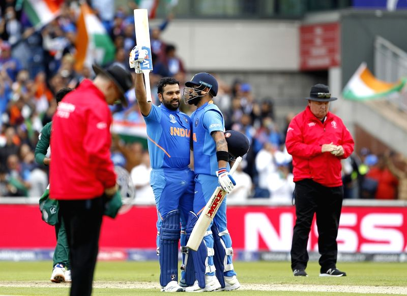 Manchester: India's Rohit Sharma celebrates his century during the 22nd match of 2019 World Cup between India and Pakistan at Old Trafford in Manchester, England on June 16, 2019. (Photo: Surjeet Yadav/IANS)