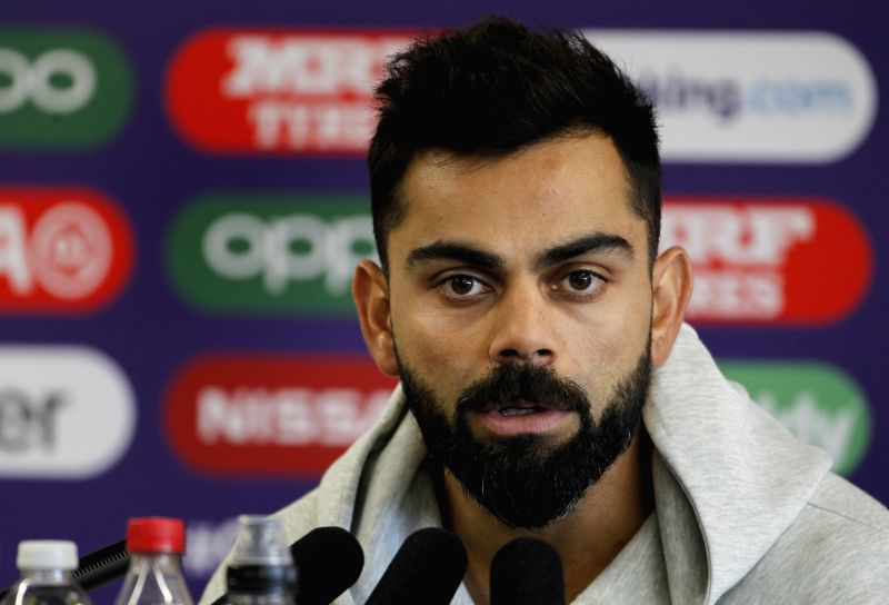 Manchester: Indian skipper Virat Kohli addresses a press conference ahead of the World Cup 2019 match against Pakistan in Manchester, England on June 15, 2019. (Photo: Surjeet Yadav/IANS)