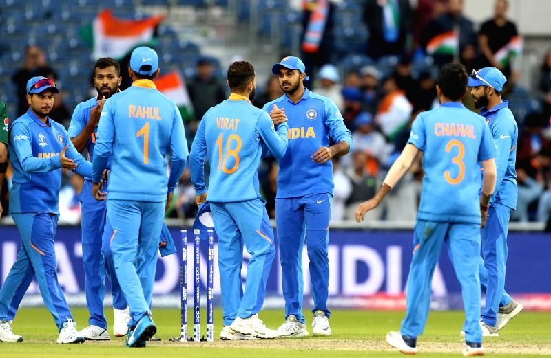 Manchester: Indian skipper <a href='/topics/Virat_Kohli'>Virat Kohli</a> celebrates along with teammates after winning the 22nd match of 2019 World Cup between against Pakistan at Old Trafford in Manchester, England on June 16, 2019. India won by 89 runs (D/L method). (Photo: Surjeet