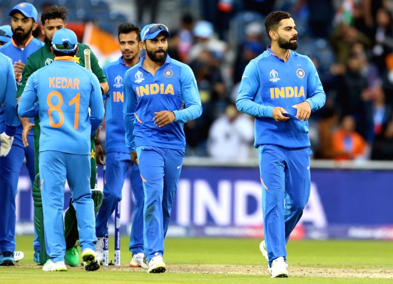 Manchester: Indian skipper Virat Kohli celebrates along with teammates after winning the 22nd match of 2019 World Cup between against Pakistan at Old Trafford in Manchester, England on June 16, 2019. India won by 89 runs (D/L method). (Photo: Surjeet