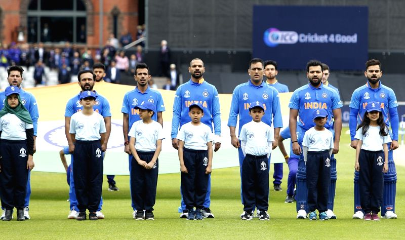 Manchester: The Indian team during National Anthem ahead of the 22nd match of 2019 World Cup between India and Pakistan at Old Trafford in Manchester, England on June 16, 2019. (Photo: Surjeet Yadav/IANS)