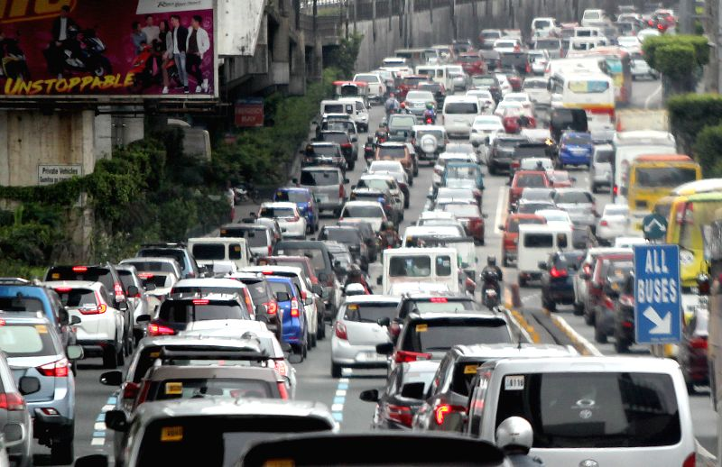MANDALUYONG, Aug. 9, 2018 - Vehicles move slowly during rush hour in Mandaluyong City, the Philippines, Aug. 9, 2018. The Philippine economy slowed in the second quarter to 6.0 percent from the 6.6 ...