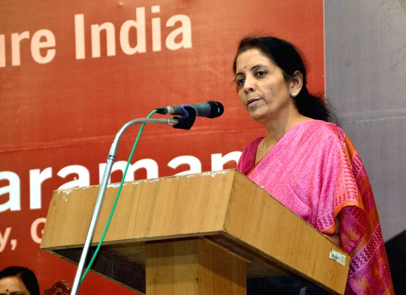 The Union Minister of State for Commerce and Industry (Independent Charge), Nirmala Sitharaman addresses at the inauguration of the 'Commerce Policy for Future India', organised by the