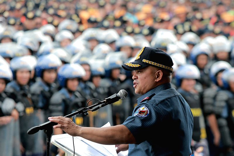MANILA, April 23, 2017 - Philippine national police chief Ronald dela Rosa addresses the send-off ceremony of security forces for the 30th Association of Southeast Asian Nations (ASEAN) Summit in ...