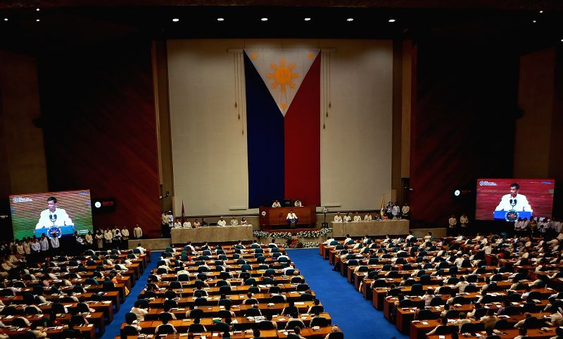 MANILA, July 23, 2018 - Philippine President Rodrigo Duterte delivers his third State of the Nation Address at the Philippine House of Representatives in Quezon City, the Philippines, July 23, 2018. ...
