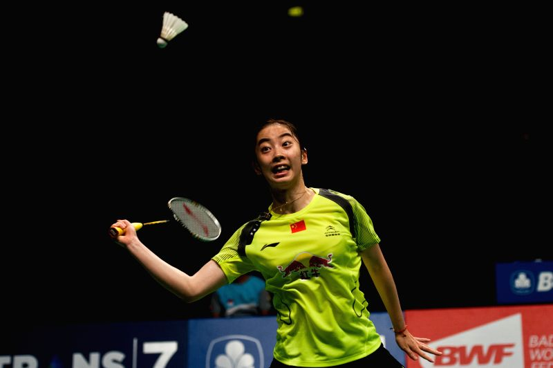 Wang Shixian of China competes during semifinal BCA Indonesia Open 2014 against Ratchanok Intanon of Thailand at Istora Senayan Jakarta, Indonesia, on June 21, 2014.