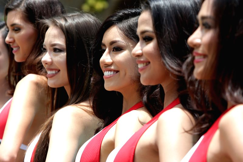 MANILA, May 16, 2016 - Candidates smile during the Miss Philippines-Earth presentation in Manila, the Philippines, May 16, 2016. Forty-eight girls will vie for the 2016 Miss Philippines-Earth crown ...
