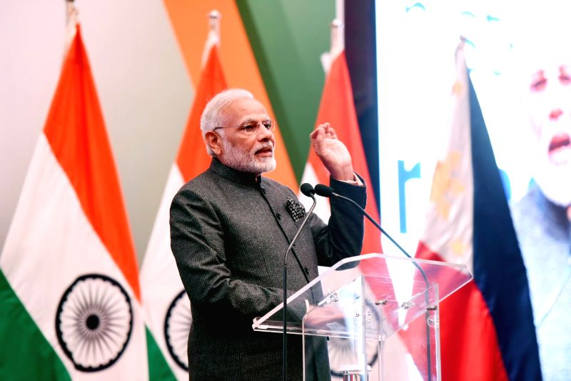 :Manila: Prime Minister Narendra Modi addresses at a reception for the 'Indian Community in Philippines' hosted by Indian Ambassador in honour of Prime Minister in Manila, Philippines on ...