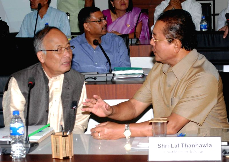 Manipur Chief Minister Okram Ibobi Singh and Mizoram and Chief Minister Lal Thanhawla during the Conference of Chief Ministers of North-Eastern States in Guwahati on Aug 21, 2014. - Okram Ibobi Singh