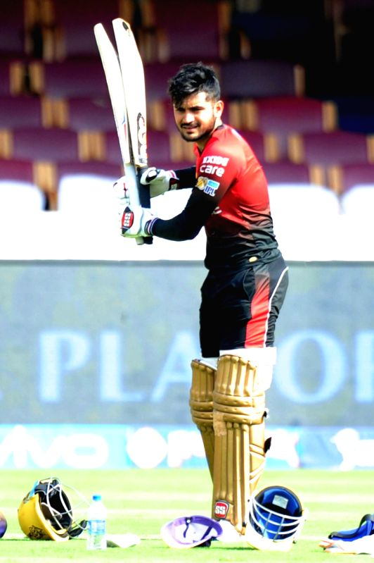 Manish Pandey of Kolkata Knight Riders during a practice session ahead of their playoff match against Sunrise Hyderabad at Chinnaswamy Stadium in Bengaluru on May 16, 2017. - Manish Pandey