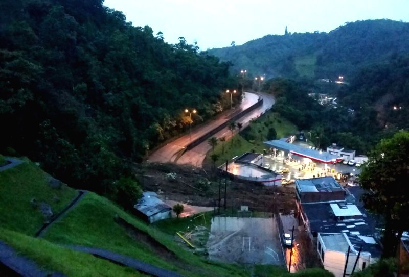 MANIZALES, April 20, 2017 - Photo taken on April 19, 2017 shows a landslide site in Manizales, Colombia. At least 11 people were killed in landslides in central-western Colombia on Wednesday, ...
