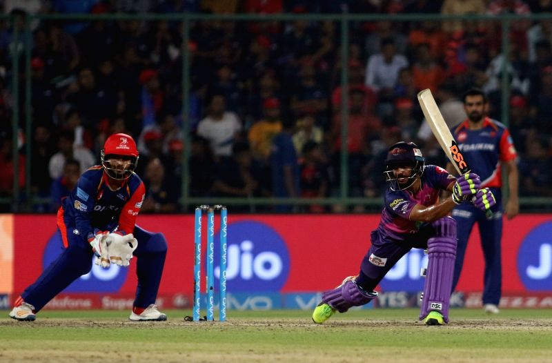 Manoj Tiwari  of Rising Pune Supergiants during match between the Delhi Daredevils and the Rising Pune Supergiant held at the Feroz Shah Kotla Stadium in Delhi on May 12, 2017.