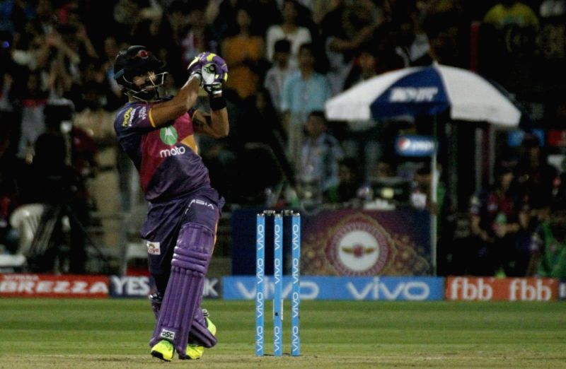 Manoj Tiwary of Rising Pune Supergiant in action during an IPL 2017 match between Rising Pune Supergiant and Sunrisers Hyderabad at Maharashtra Cricket Association Stadium in Pune on April 22, ...