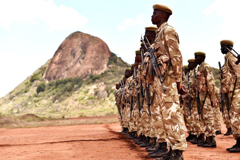 Kenya Wildlife Service rangers attend their graduation ceremony at the Kenya Wildlife Service Law Enforcement Academy in Tsavo West National Park on March 27, ...