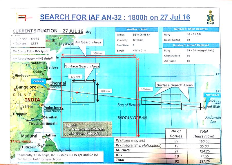 Map showing position of objects that were investigated over the last few days in search of the missing AN-32 of Indian Air Force.  The leads proved to be false alarms. (Photo source - Defence ...