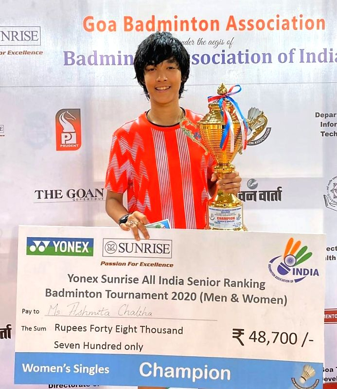 Mapusa: Women's Singles winner Ashmita Chaliha with the trophy during the felicitation programme at the closing ceremony of Yonex-Sunrise All India Senior Ranking Tournament in Goa's Mapusa on Jan 19, 2020. (Photo: IANS)