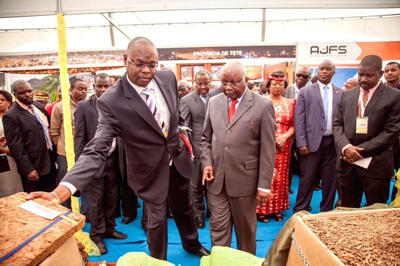 Mozambican President Armando Guebuza (R) visits the 50th Maputo International Fair in Maputo, Mozambique, on Aug, 25, 2014. Mozambique's 50th Maputo International ...