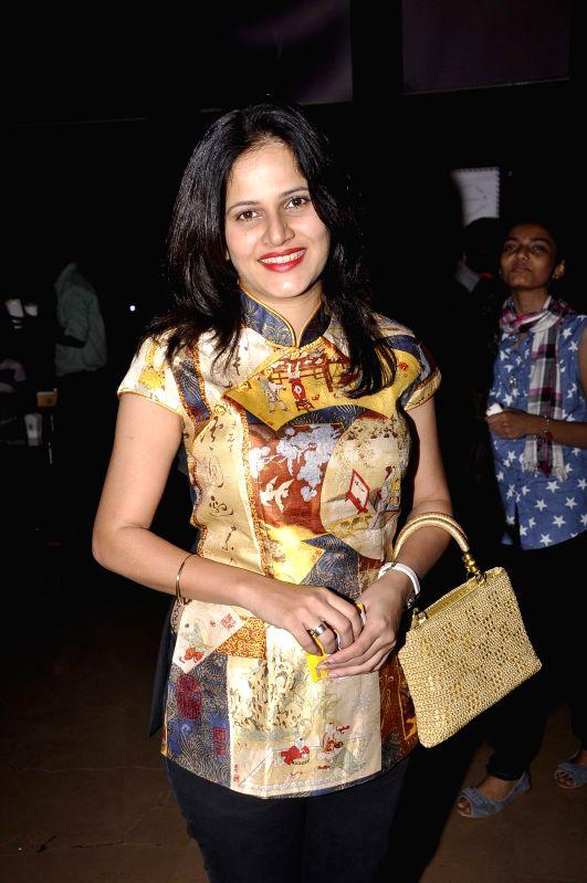 Marathi film actress Manva Naik during the premiere of Marathi film Candle March in Mumbai, on Dec 5, 2014. - Manva Naik