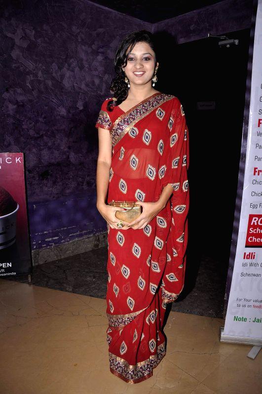 Marathi film actress Sayali Sahasrabudhe during the premiere of Marathi film Candle March in Mumbai, on Dec 5, 2014. - Sayali Sahasrabudhe