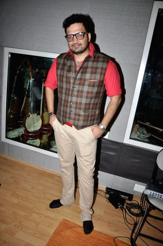Marathi singers Swaroop Bhalwankar during the title song recording of the album Afreen in Mumbai on July 19, 2014.