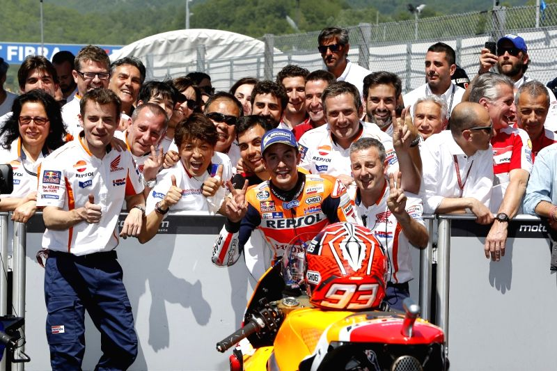 Marc Marquez celebrates after securing the second place in Italian GP held in Mugello, Tuscany, Italy.